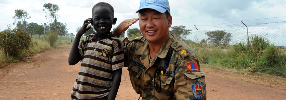 Mongolian troops and engineers interreact with the locals in Bentiu.
