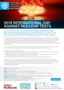 UNAA NSW 2019 International Day Against Nuclear Tests