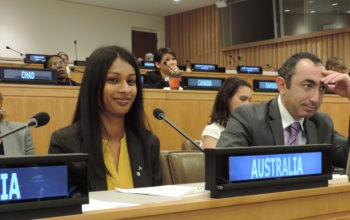 Laura delivering statement on behalf of Australian youth to the UN General Assembly in 2014.